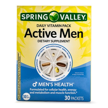 Spring Valley Active Men Daily Vitamin and Mineral Supplement Packs, 30 Packets