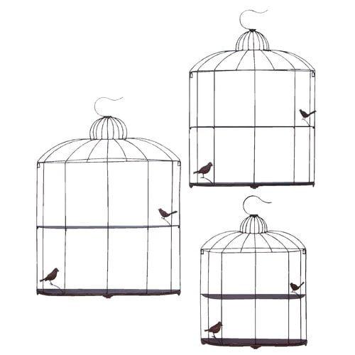 Woodland Imports Bird Cage Decor Shelf (Set of 3)