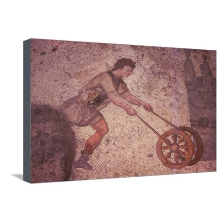 Byzantine Floor Mosaic in the Great Palace, Istanbul, 20th century Stretched Canvas Print Wall Art