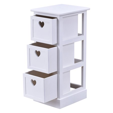 gymax 3 drawers wooden bedside table nightstand cabinet storage white. Black Bedroom Furniture Sets. Home Design Ideas