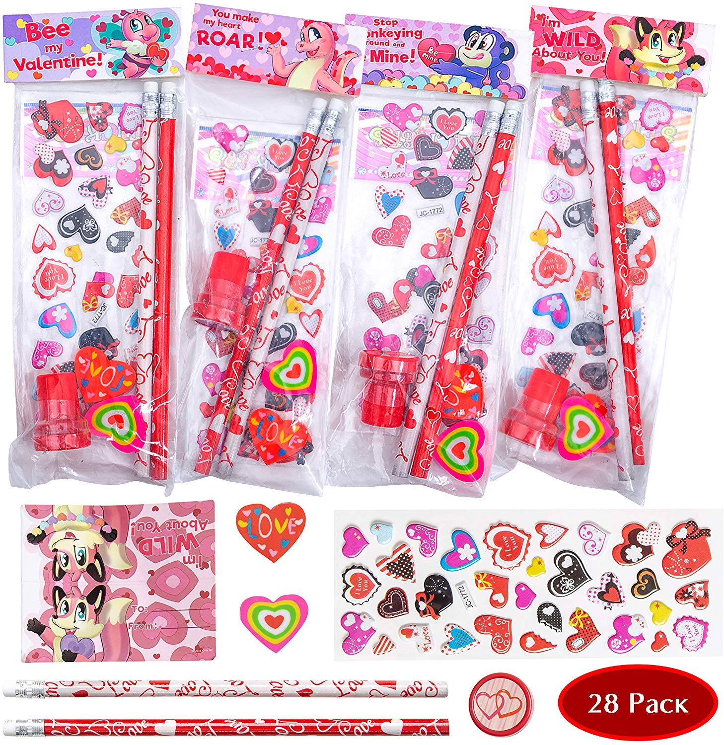 JOYIN 36 pack Valentines Day Gift Cards with Gift Valentine Stampers for Classroom Exchange Prizes Party Favor Toys