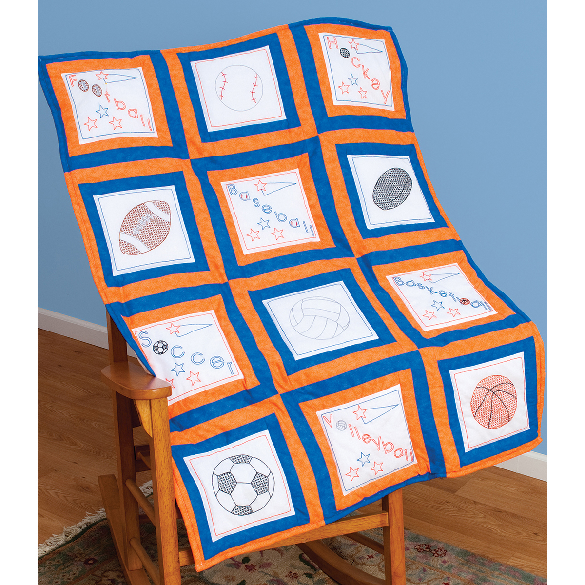Themed Stamped White Quilt Blocks 9 Inch X 9 Inch 12/Pkg-Sports