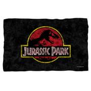 Jurassic Park Classic Logo Fleece Throw Blanket White One Size