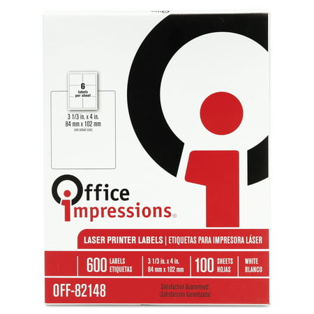 Office Impressions Laser Computer Labels, 3-1/3 x 4, White, 600/Box