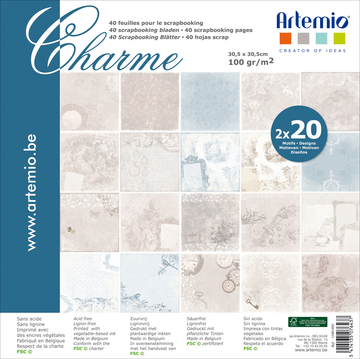 "Artemio Single-Sided Paper Pad 12""X12"" 40/Pkg-Charme, 20 Designs/2 Each"