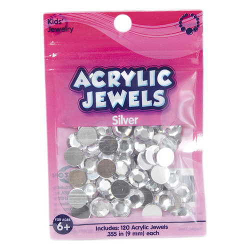 Kids Craft Acrylic Stones, 9mm, Clear