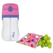 Itzy Ritzy Snack Happens Reusable Snack Bag with Thermos Straw Bottle, Owls