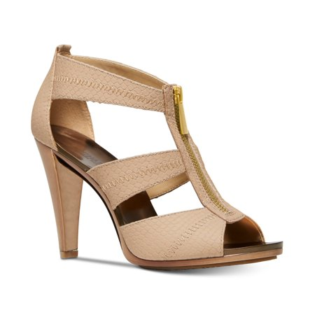 - Michael Kors MK Women's Berkley T-Strap Embossed Leather Dress Sandals Shoes (8)