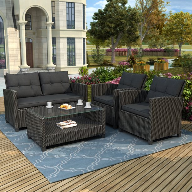 Patio Dining Sets Clearance, 4 Piece Outdoor Sectional ...