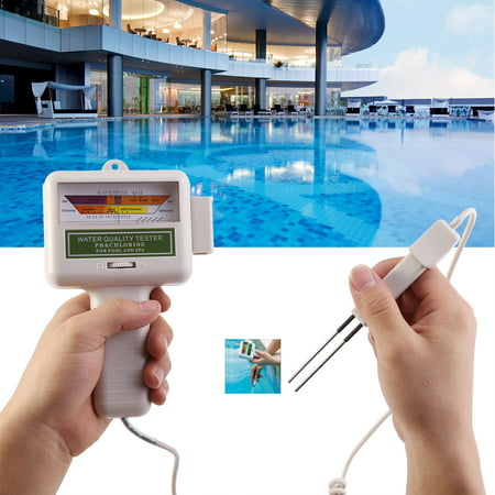 WALFRONT Portable pH Tester Chlorine Meter Swimming Pool Spa Water Quality Monitor Checker, Water Quality Monitor, Chlorine Level