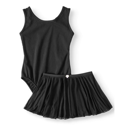 Girls Black Long Sleeve Leotard (Danskin Now Girls' Tank Leotard with Front Liner and Skirt Combo (Little & Big)