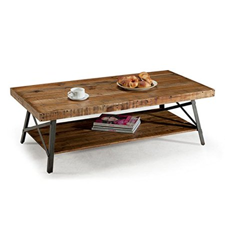 Contemporary Style Cappuccino Finish Wood (ModHaus Living Contemporary Style Rustic Reclaimed Wood Rectangle Shaped Cocktail Coffee Table with Bottom Shelf | Metal Legs, Natural Finish, Living Room Decor - Includes)