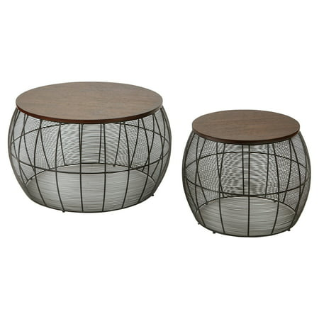 Office Star Camden 2 Piece Round Metal Accent Tables With Espresso Wood Top