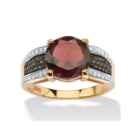 6.03 TCW Genuine Round Garnet and Pave CZ Cocktail Ring in 14k Yellow Gold over .925 Sterling Silver