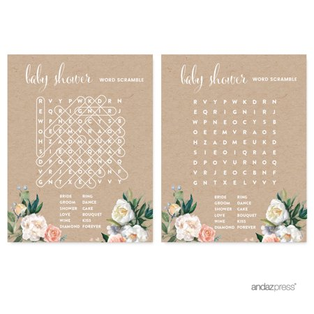 Peach Rustic Floral Garden Party, Word Search Baby Shower Game Cards, 20-Pack - Baby Showe Games