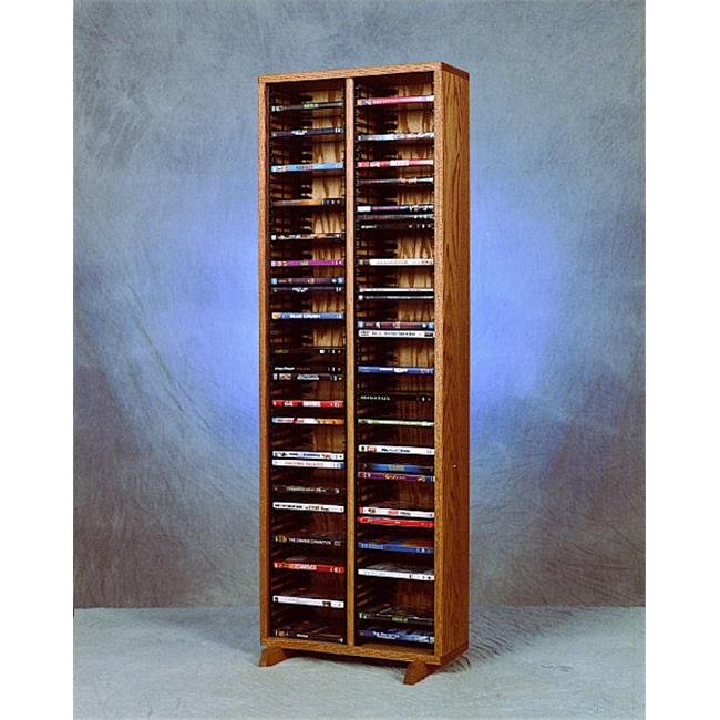Wood Shed 210-4 DVD Solid Oak Tower for DVDs - Individual Locking Slots
