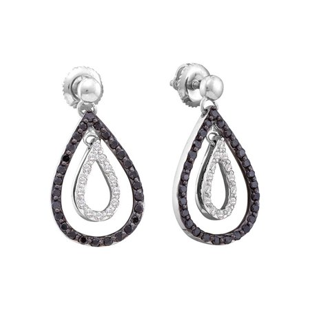 14kt White Gold Womens Round Black Color Enhanced Diamond Double Teardrop Dangle Earrings 3/4 Cttw Fine Jewelry Ideal Gifts For Women Gift Set From Heart Double Teardrop Diamond Earrings
