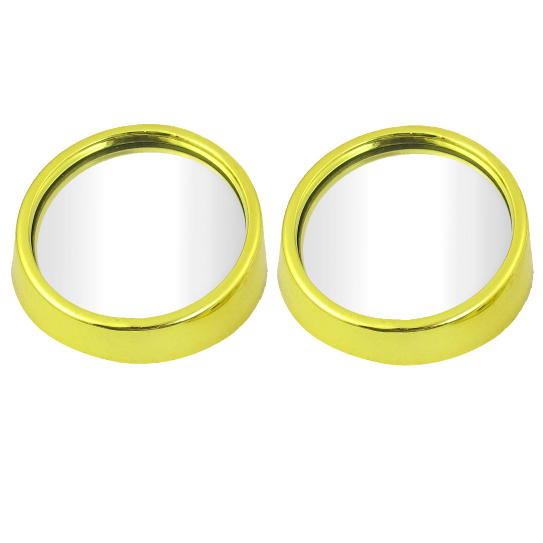 54mmx18mm Gold Tone Wide Angle Round Rearview Blind Spot Mirror 2 Pcs