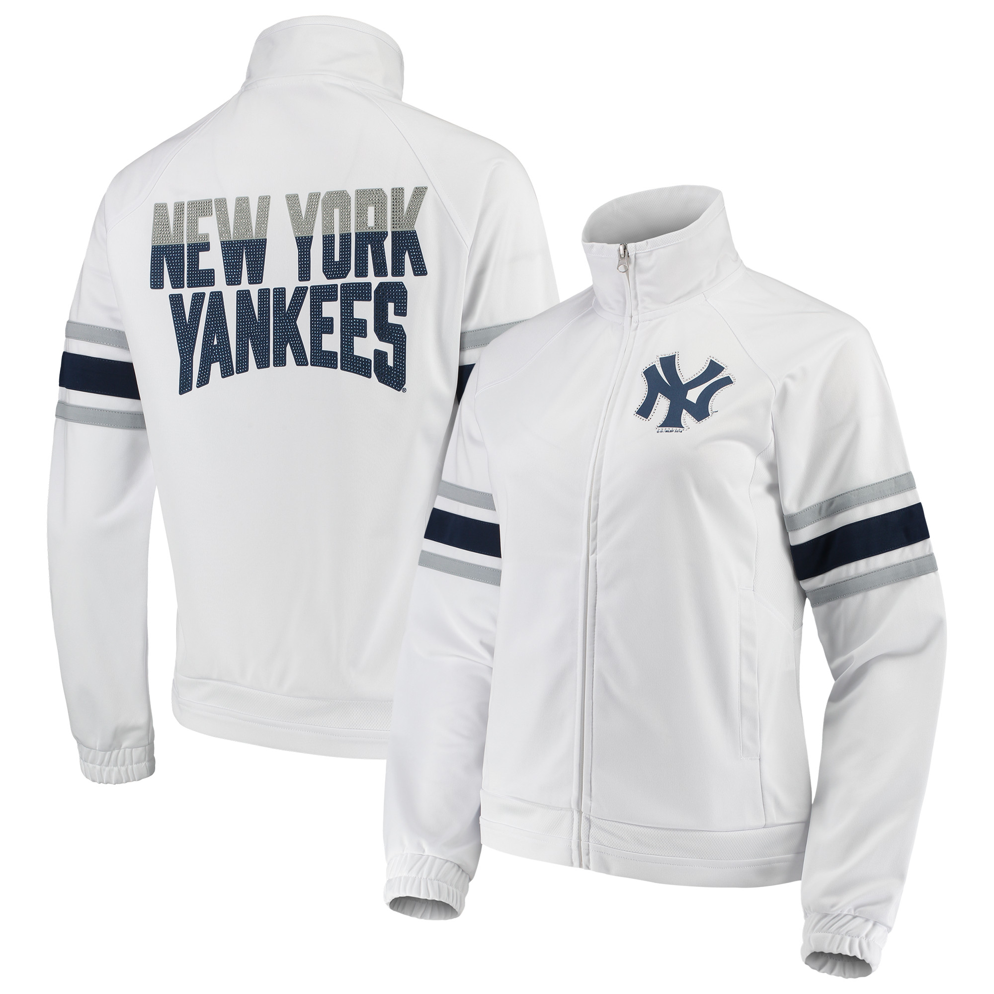 New York Yankees G-III 4Her by Carl Banks Women's Game Score Full-Zip Track Jacket - White