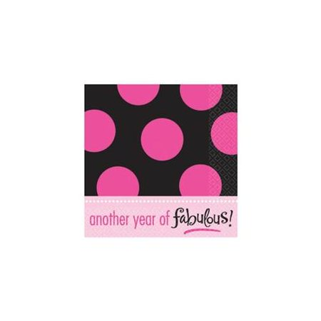 Polka Dot 'Pink and Black' Lunch Napkins (16ct) - Pink Polka Dot