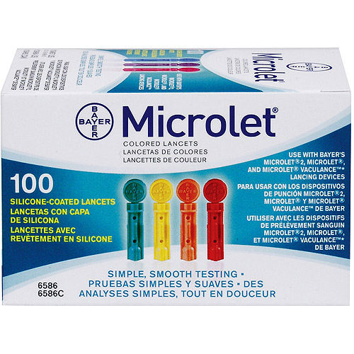 Bayer Color Microlet Lancets, 100ct