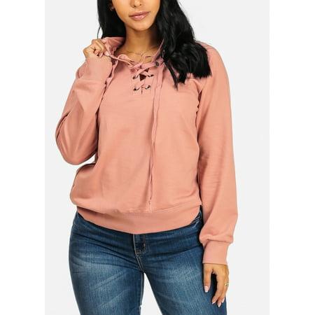 9600506b93 ModaXpressOnline - Womens Juniors Cute lace Up v Neckline Pink Long Sleeve  Sweater W Hood 41479P - Walmart.com