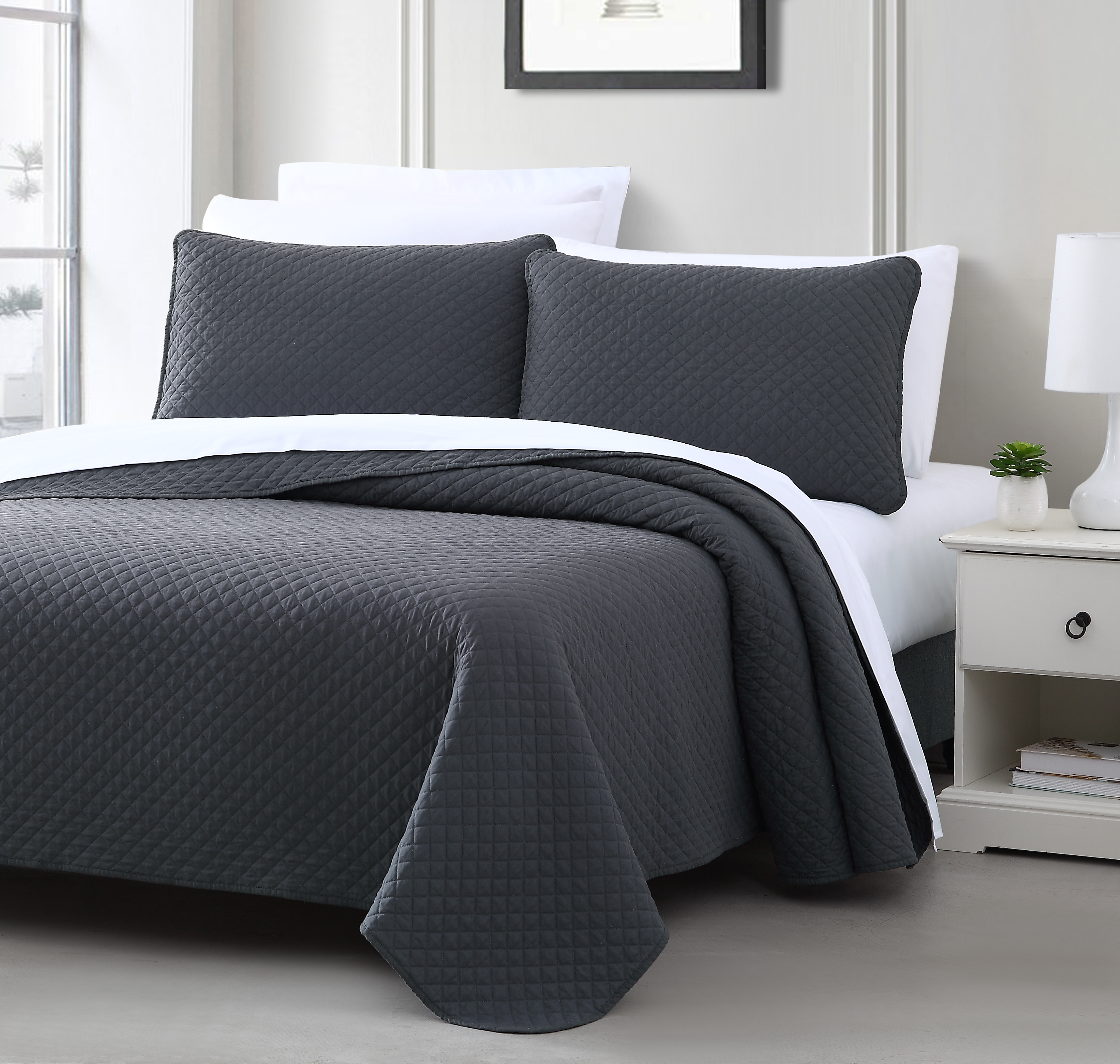 Cozy Beddings Quilted Coverlet Set Elliott Collection Bedspread PREWASHED Cover Set, Diamond Stitched Design, Microfabric Shell 100% Cotton Quilt