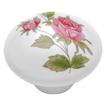 Hickory Hardware English Cozy Pink Rose Cabinet Knob (Pink Turtle Knob)