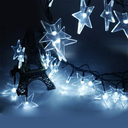 30 Solar Powered Fairy Star LED String Light Outdoor Garden Wedding Cool White (Star String Lights)