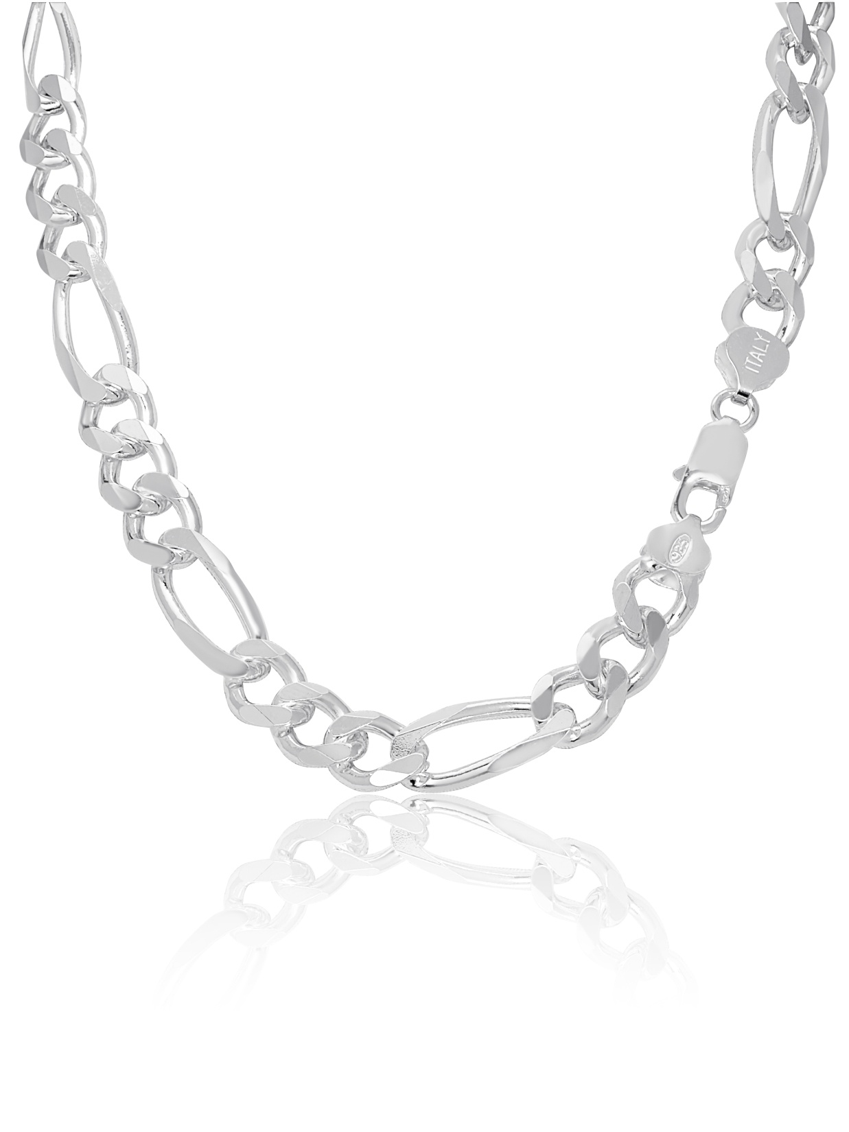Real Sterling Silver Mens Boys Figaro Solid Chain Bracelet or Necklace 925 Italy
