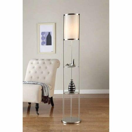 Artiva Usa 64  Exeter Brushed Steel Shelf Floor Lamp