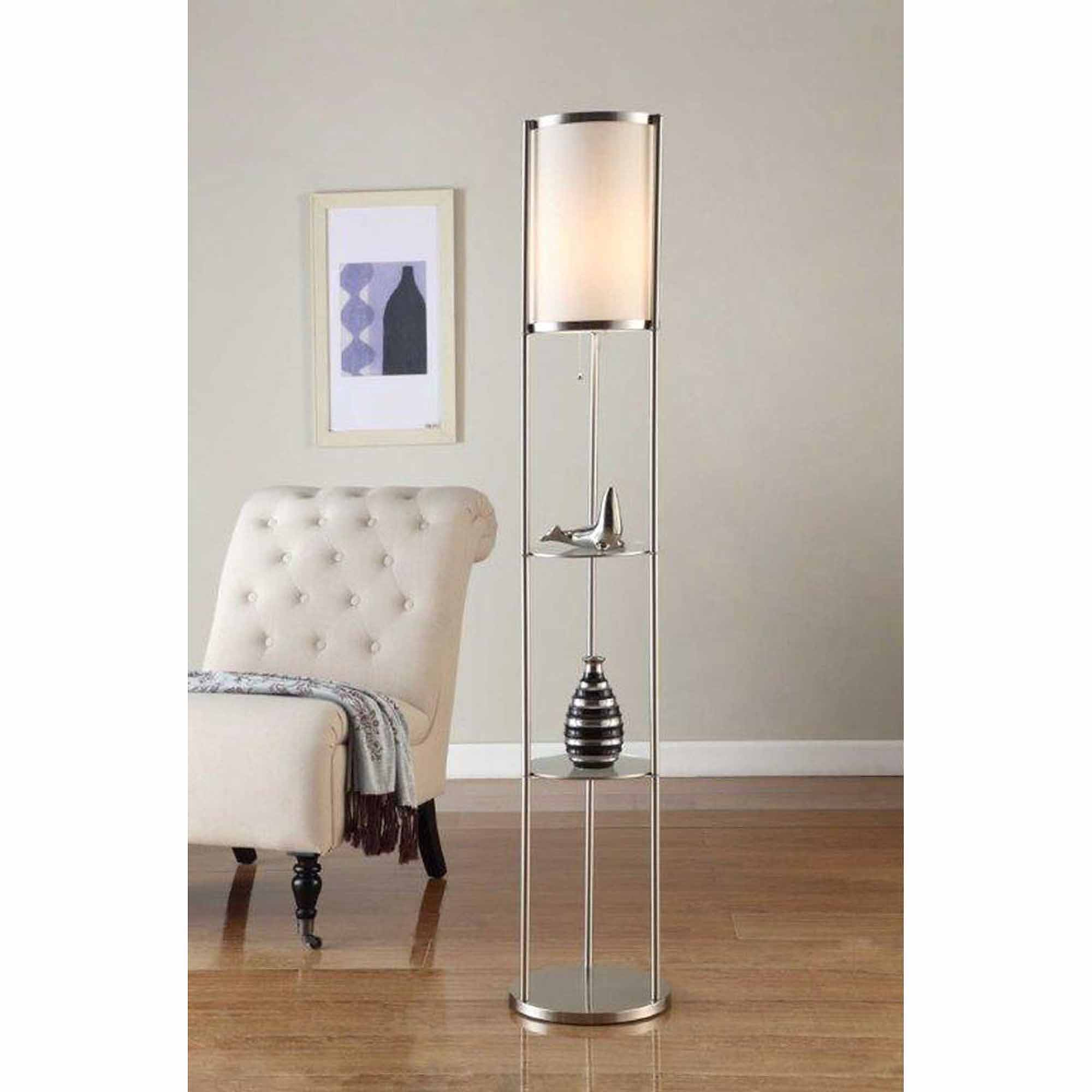 "Artiva USA 64"" Exeter Brushed Steel Shelf Floor Lamp"