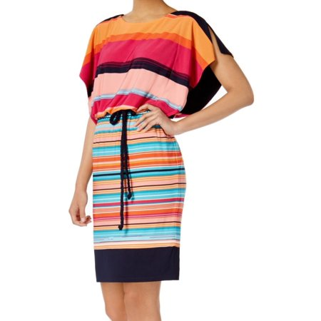 Sangria NEW Pink Womens Size 10 Striped Tie-Waist Blouson Sheath Dress
