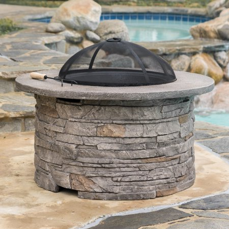 Stone Fire Pits (Potts Glass Fiber Reinforce Cement and Iron Fire Pit, Natural Stone)