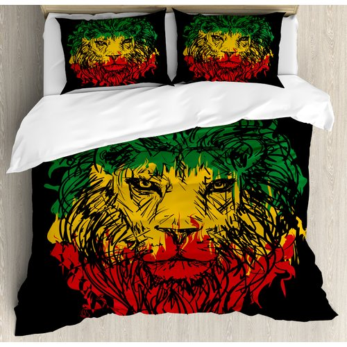 Ambesonne Rasta Ethiopian Flag on Grunge Sketchy Lion Head with Backdrop Duvet Cover Set