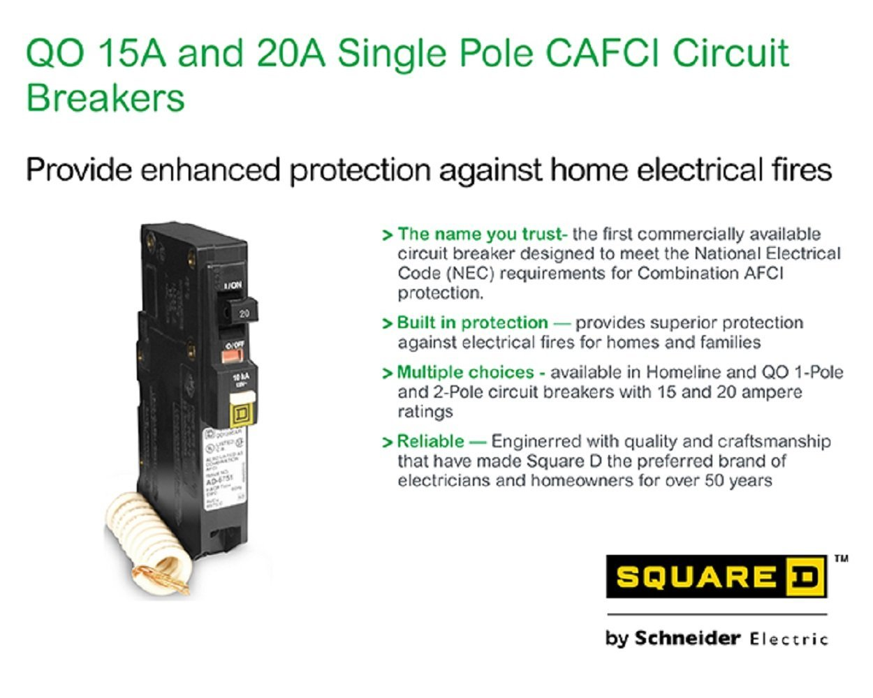 Square D Qo120cafi Qo 20a Arc Fault Breaker By Schneider Circuit Interrupters Afcis Electric