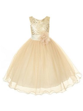46658e92432 Product Image Flower Girls Sequin Glitter Beaded Dress Christmas Pageant  Graduation (8