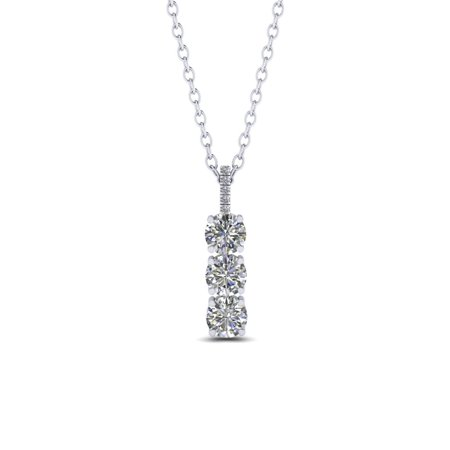 Trilogy 1.10 Carat Round Cut Real Moissanite and Diamond Drop Pendant Necklace in 18k White Gold Over Silver