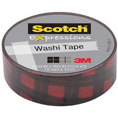 Scotch Expressions Washi Tape, 0.59 x 393 Inches, Red Buffalo Plaid (MMMC314P15)