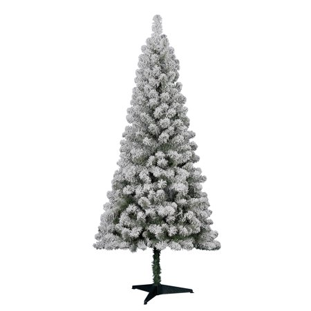 Holiday Time Flocked Pine Christmas Tree 6 ft, White on Green