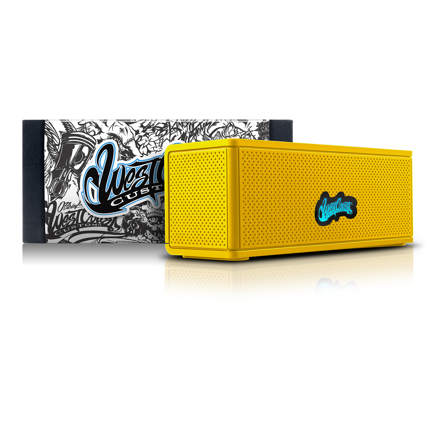 West Coast Customs Portable Wireless Bluetooth Speaker. Bulit-in Speakerphone and 8-Hour Battery Life - Yellow