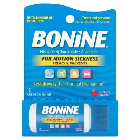 Bonine cinétose traitement framboise comprimés croquables, méclizine Chlorhydrate antiémétique, 12 count