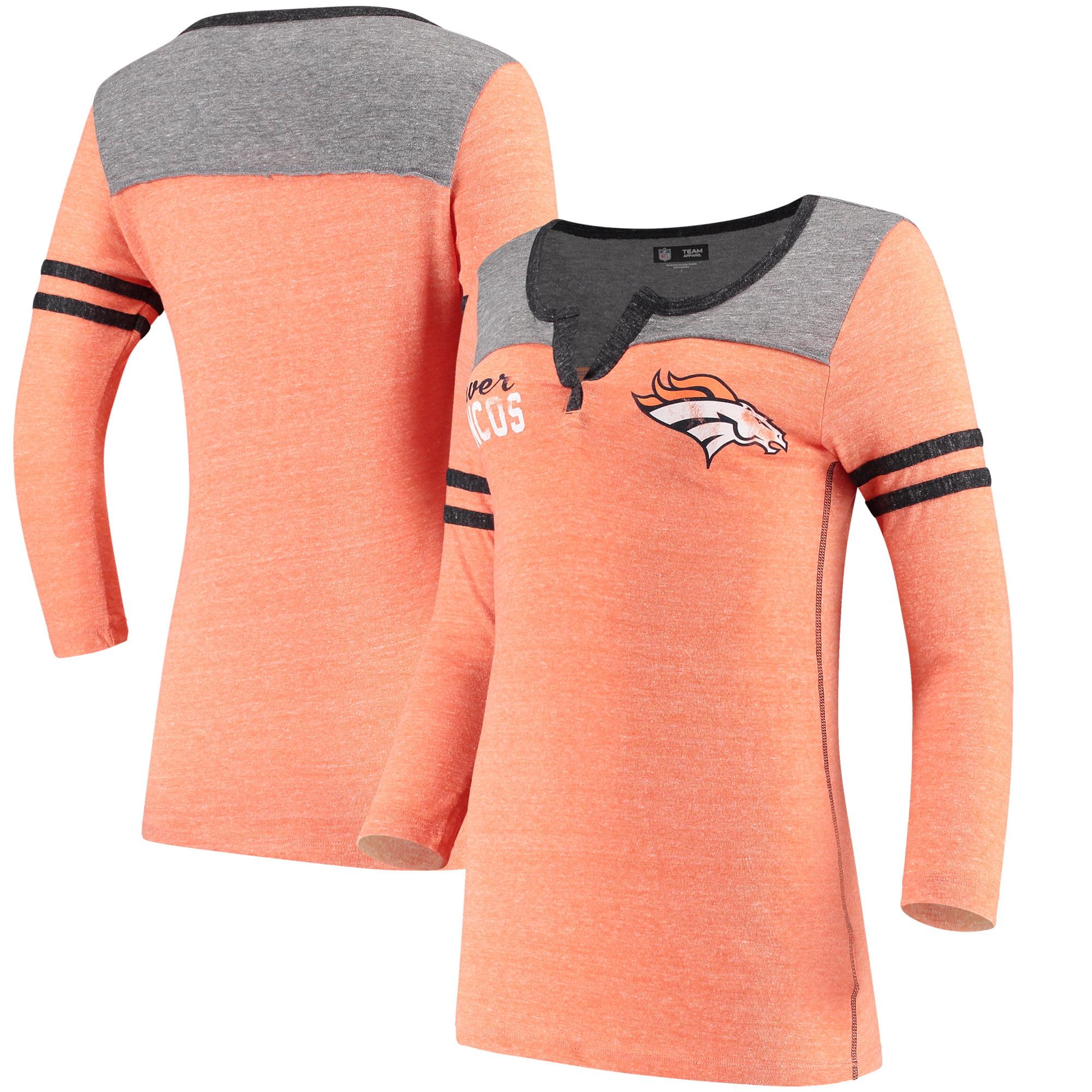 Denver Broncos 5th & Ocean by New Era Women's Long Sleeve Tri-Blend T-Shirt - Orange