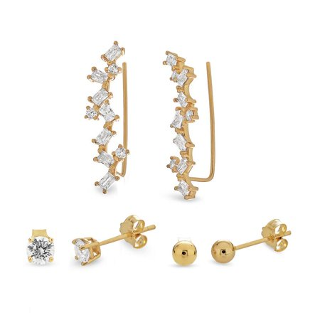 18k Gold Over Sterling Silver Cubic Zirconia Ball Studs And Crawler Earrings Set (18k Silver Stud)