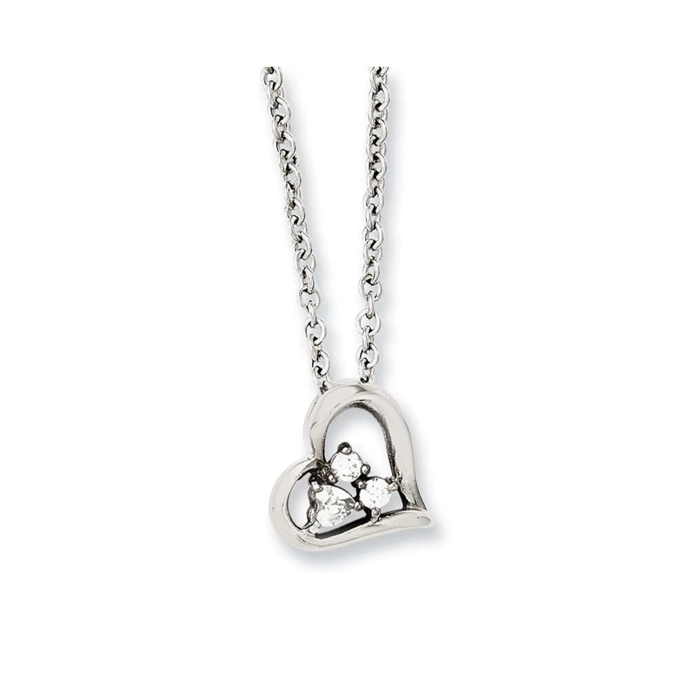 Stainless Steel Heart w/CZs Pendant 18in Necklace