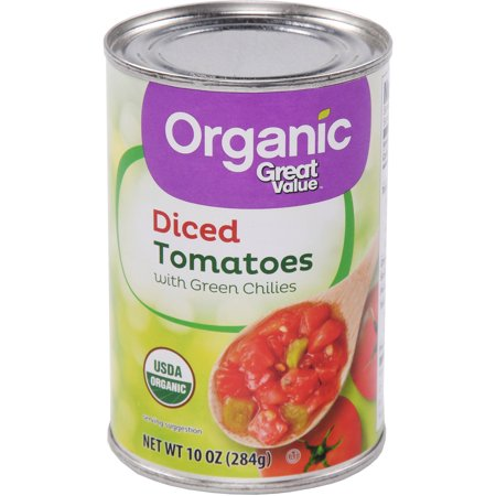 Tomato Jalapeno - Great Value Organic Diced Tomatoes With Green Chilies, 10 oz