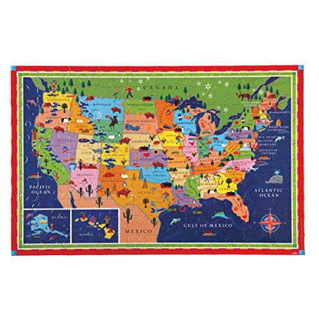 Eeboo United States Map Puzzle, 100 Pieces