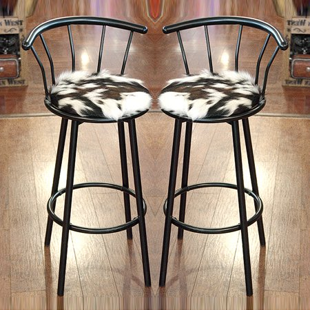 Western Leather Bar Stools - WESTERN GENUINE LEATHER COWHIDE HAIR ON BAR STOOL W/ PADDED SEAT SET OF 2