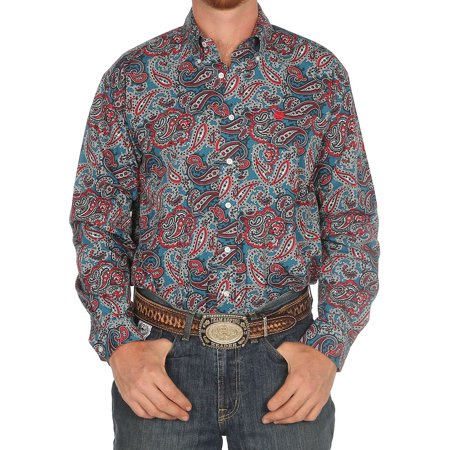 Cinch Apparel Mens  Teal/Red Paisley Long Sleeve Buttondown Shirt
