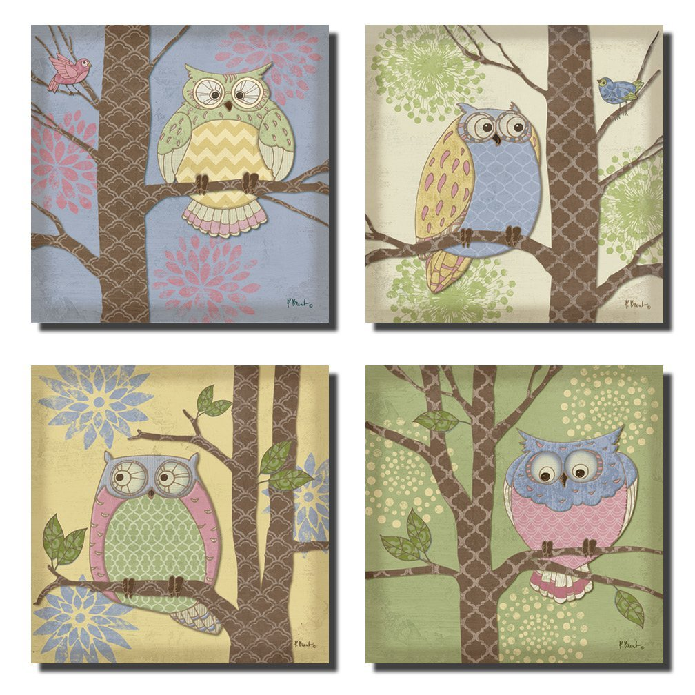 4 Pastel Fantasy Owl Set; Kids Room or Nursery Decor; Four 8x8 Poster Prints. Pink, Green, Purple, Yellow